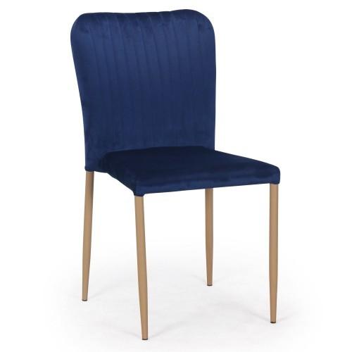 chaise empilable velours bleu et metal naturel sooka lot de 4. Black Bedroom Furniture Sets. Home Design Ideas