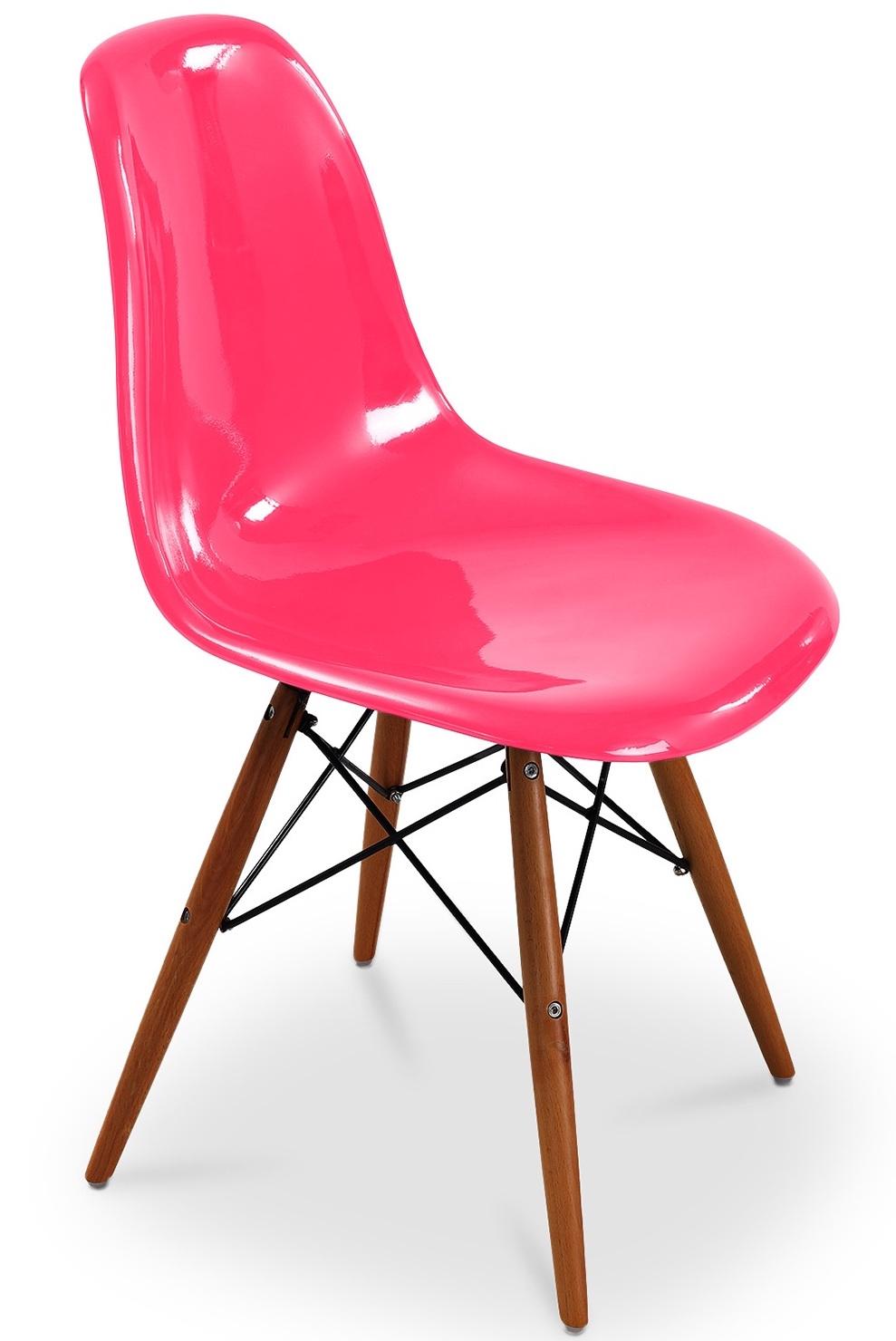 Chaise en fibre de verre fuchsia brillant inspir e dsw - Chaise eames dsw fibre de verre ...