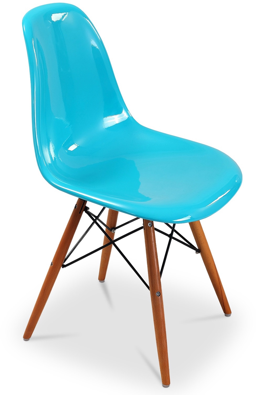 chaise fibre de verre turquoise brillant inspir e dsw lot de 4. Black Bedroom Furniture Sets. Home Design Ideas