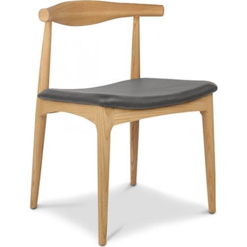 chaise enfant en bois assise simili gris belau. Black Bedroom Furniture Sets. Home Design Ideas