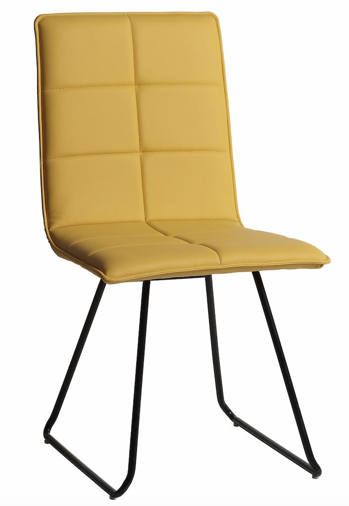 Chaise design jaune mobus lot de 4 for Chaise cuir jaune