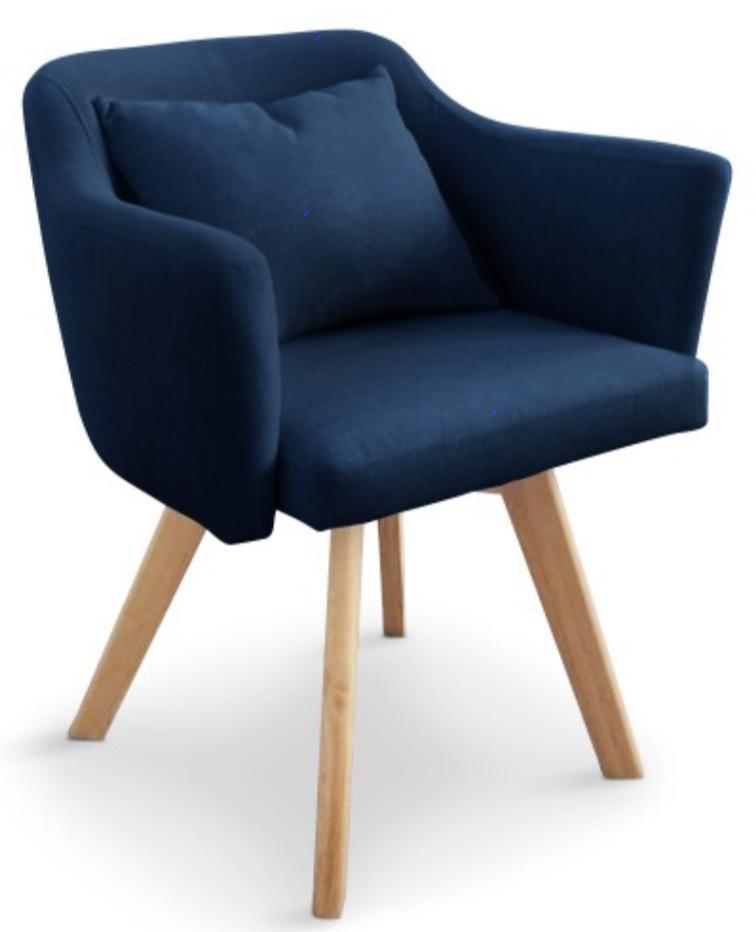Fauteuil scandinave tissu bleu kanty for Fauteuil de table scandinave