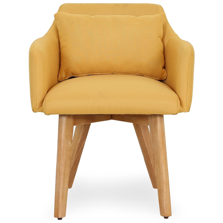 chaise scandinave avec accoudoir tissu jaune kendi. Black Bedroom Furniture Sets. Home Design Ideas