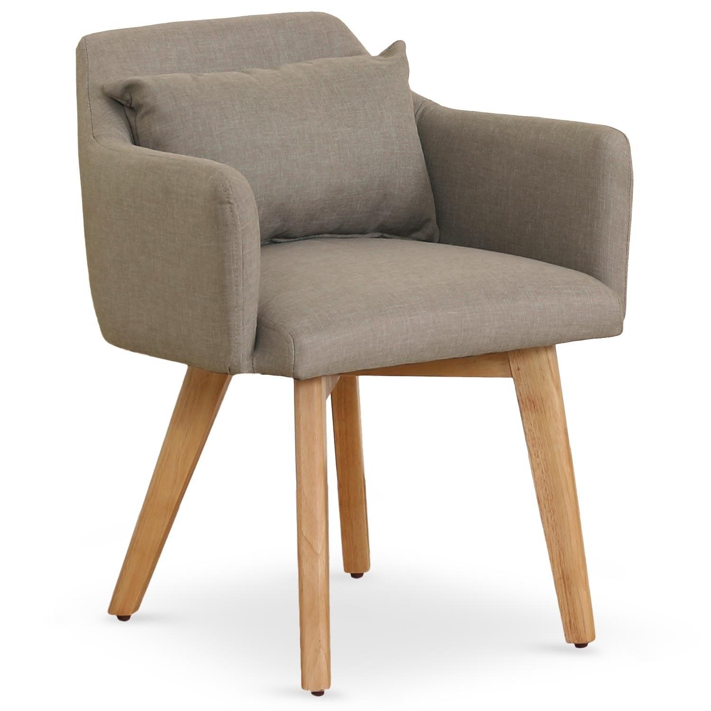 chaise scandinave avec accoudoir tissu taupe kendi. Black Bedroom Furniture Sets. Home Design Ideas