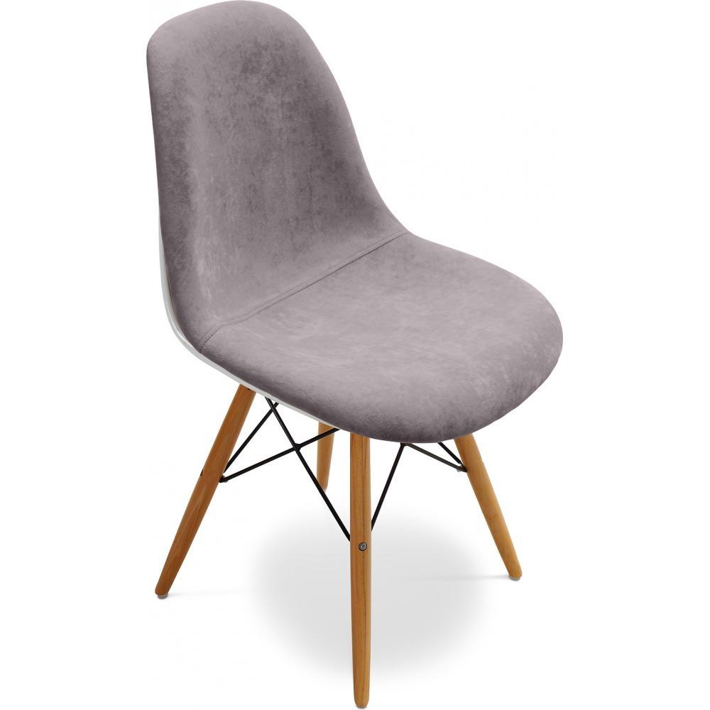 Chaise fibre de verre blanc assise tissu gris inspir e dsw for Dsw fibre de verre