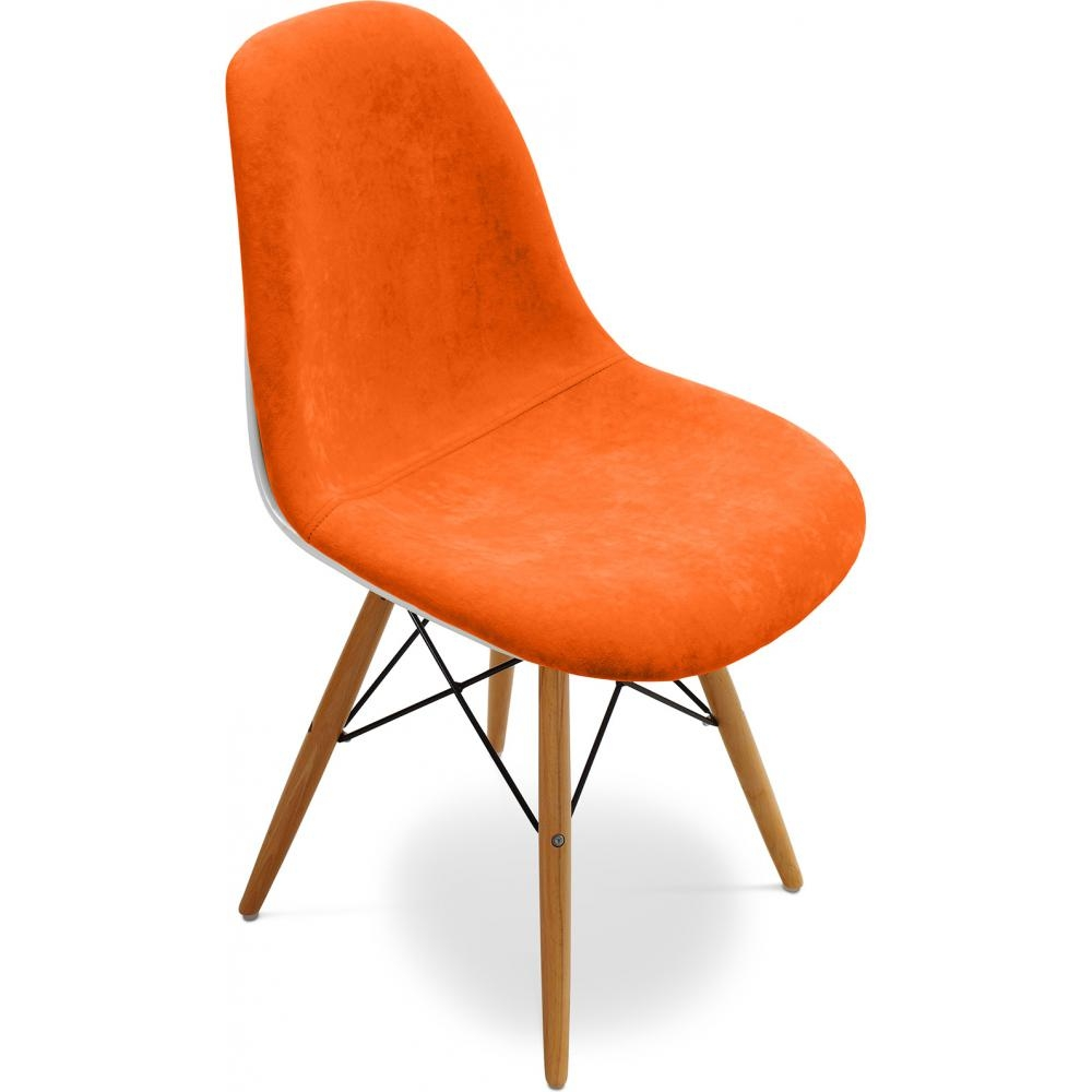 Chaise fibre de verre blanc assise tissu orange inspir e for Chaise eames dsw fibre de verre