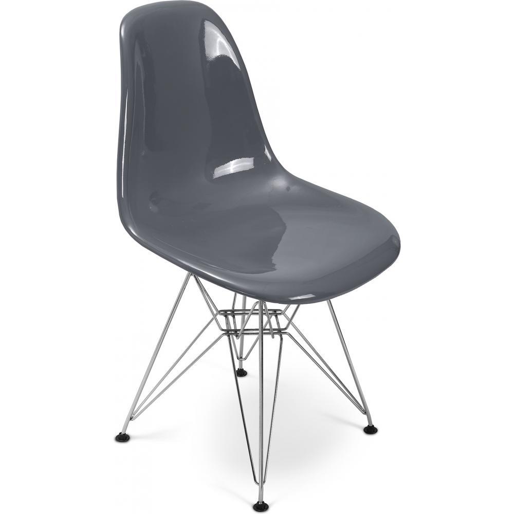 Chaise fibre de verre gris fonc brillant inspir e dsr for Chaise fibre de verre