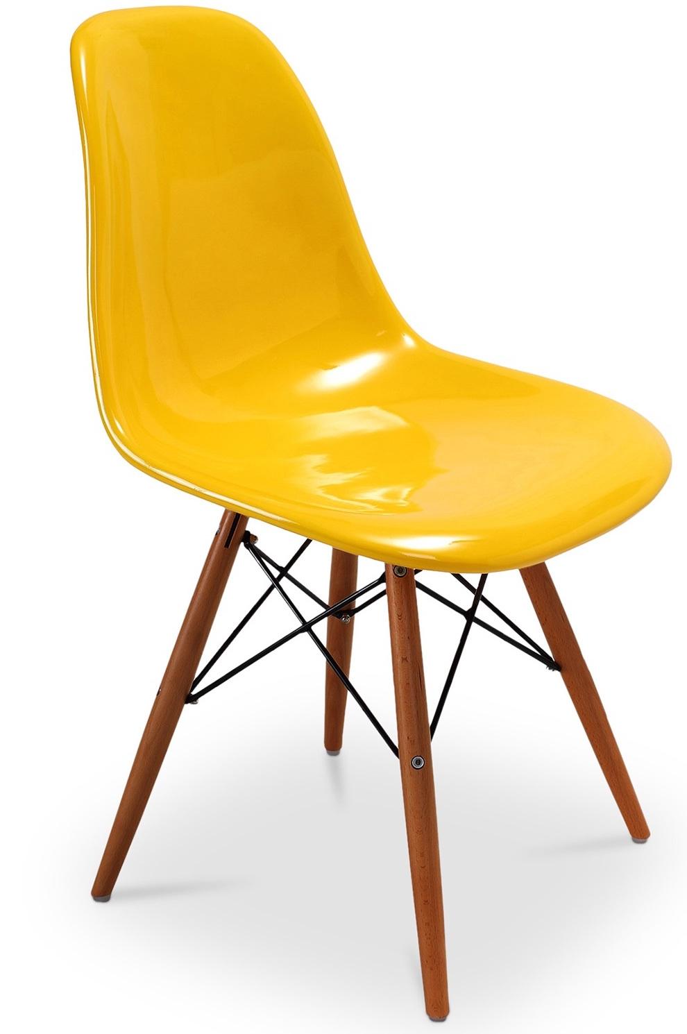 Chaise fibre de verre jaune brillant pieds h tre fonc inspir e dsw lestend - Chaise eames dsw fibre de verre ...