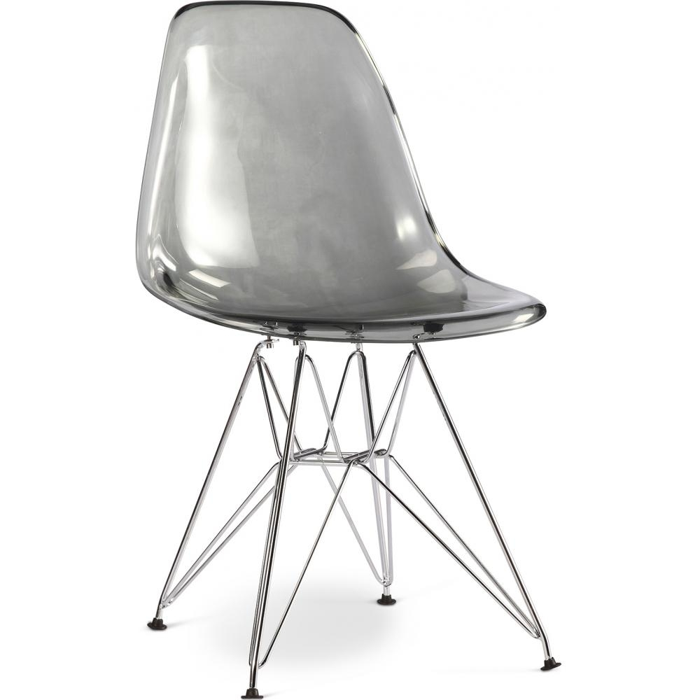 Chaise grise transparente inspir e dsr charles eames for Chaise eames transparente