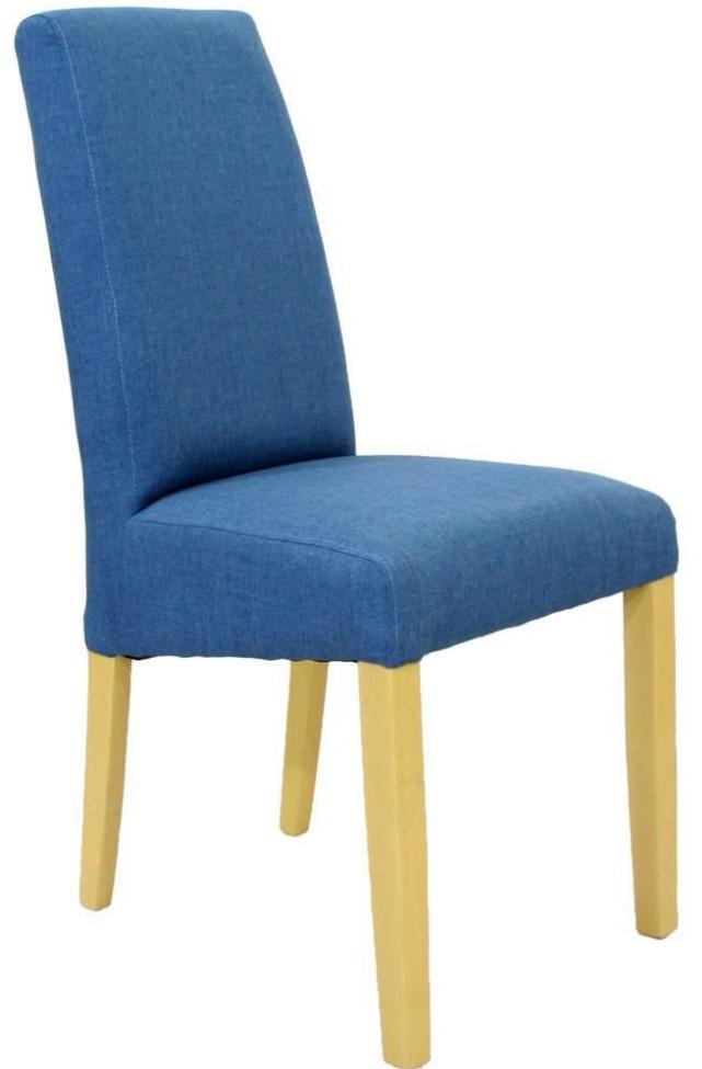 Chaise haut dossier tissu bleu et pieds hêtre massif Sara