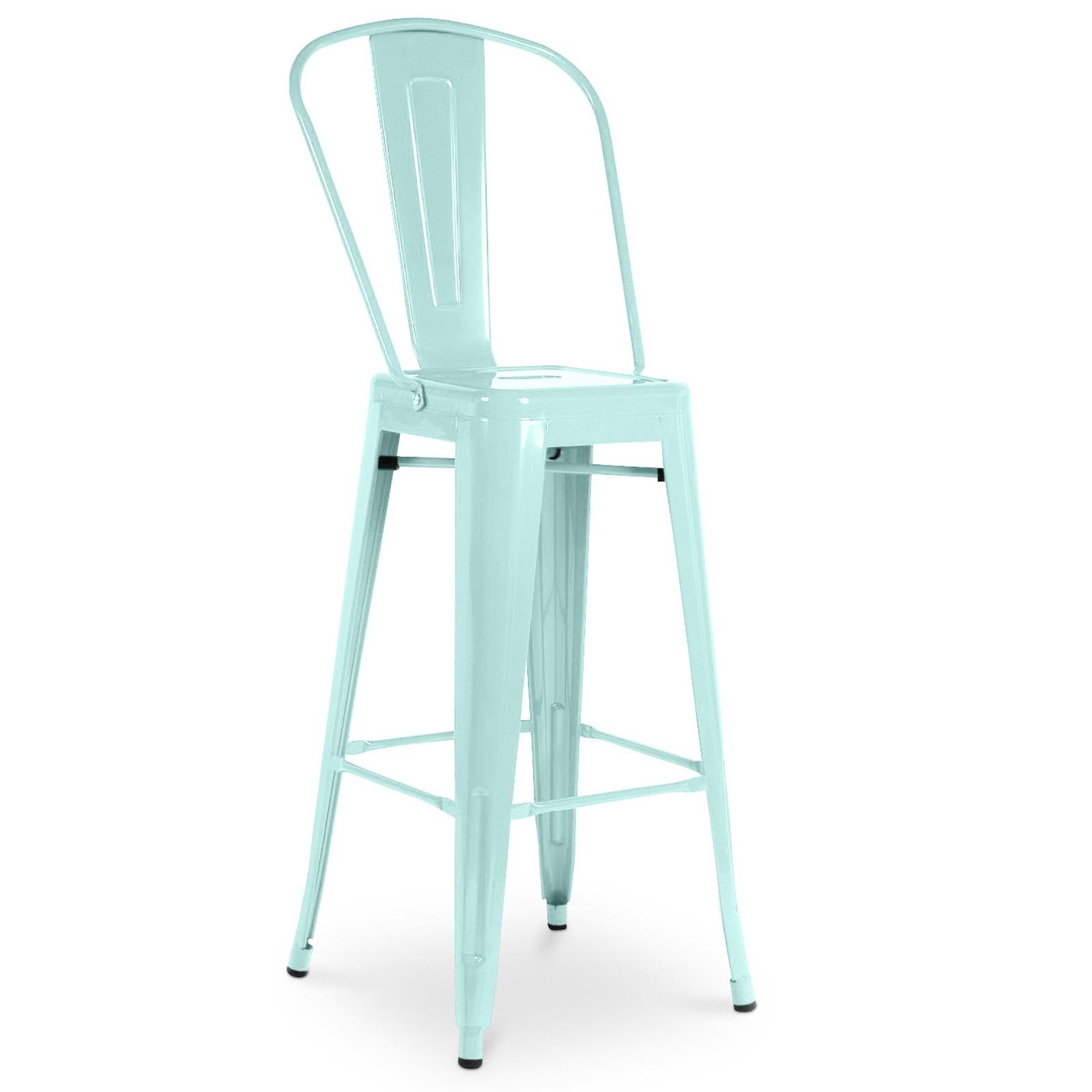 chaise haute m tal brillant bleu clair h 60 industriel. Black Bedroom Furniture Sets. Home Design Ideas