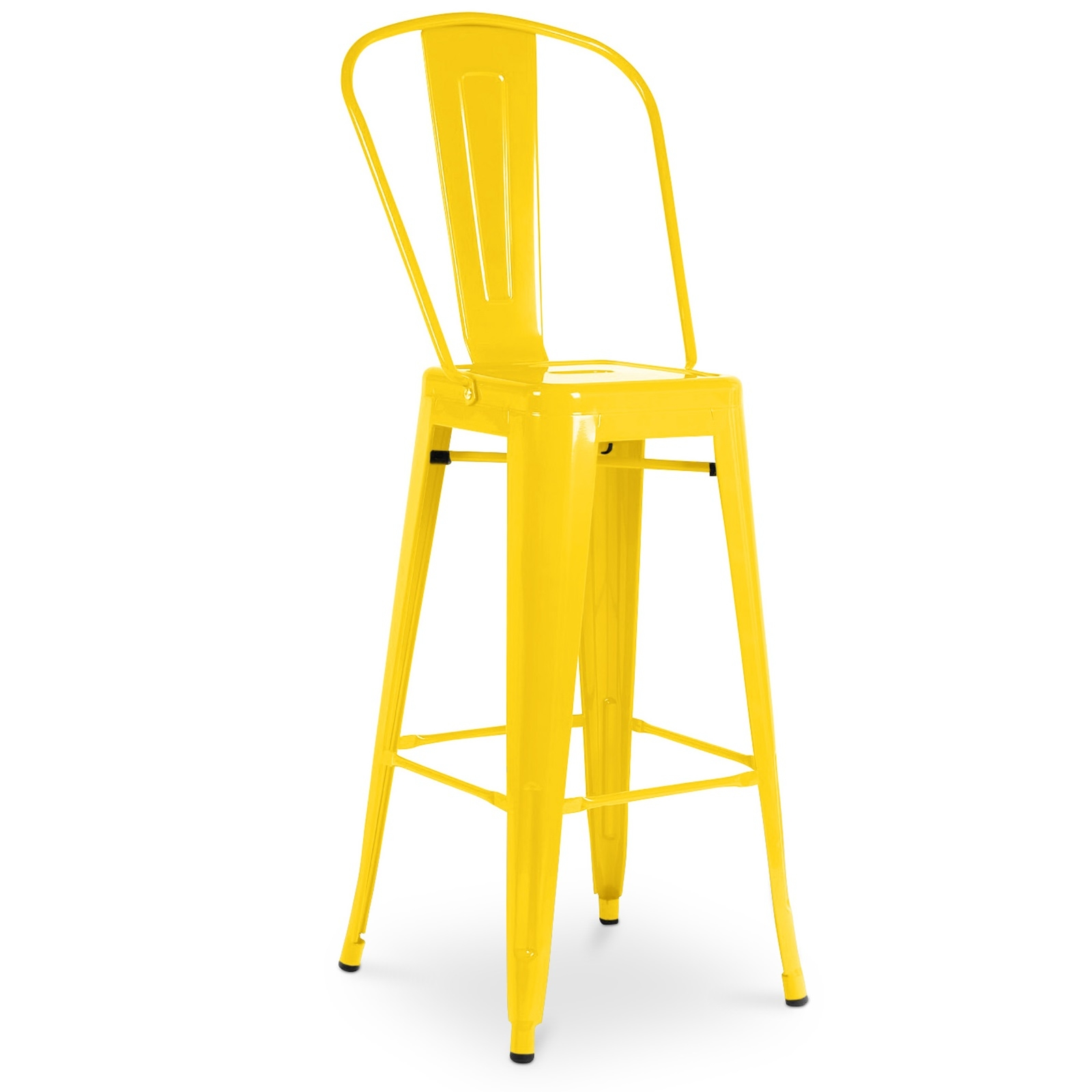 chaise haute m tal brillant jaune h 60 industriel. Black Bedroom Furniture Sets. Home Design Ideas