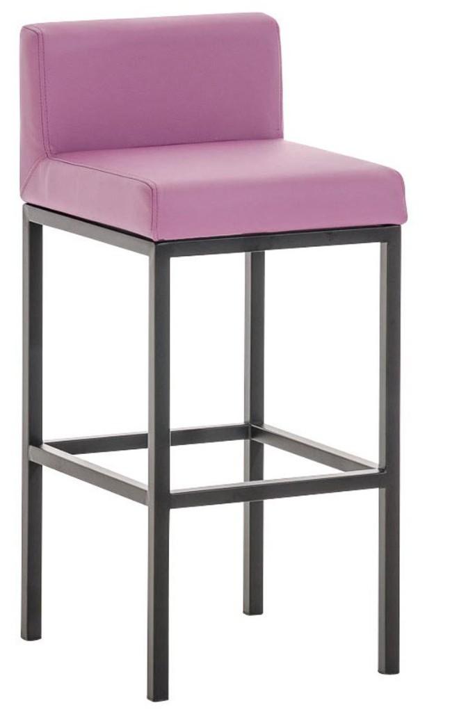chaise haute m tal noir et simili violet kontoir. Black Bedroom Furniture Sets. Home Design Ideas