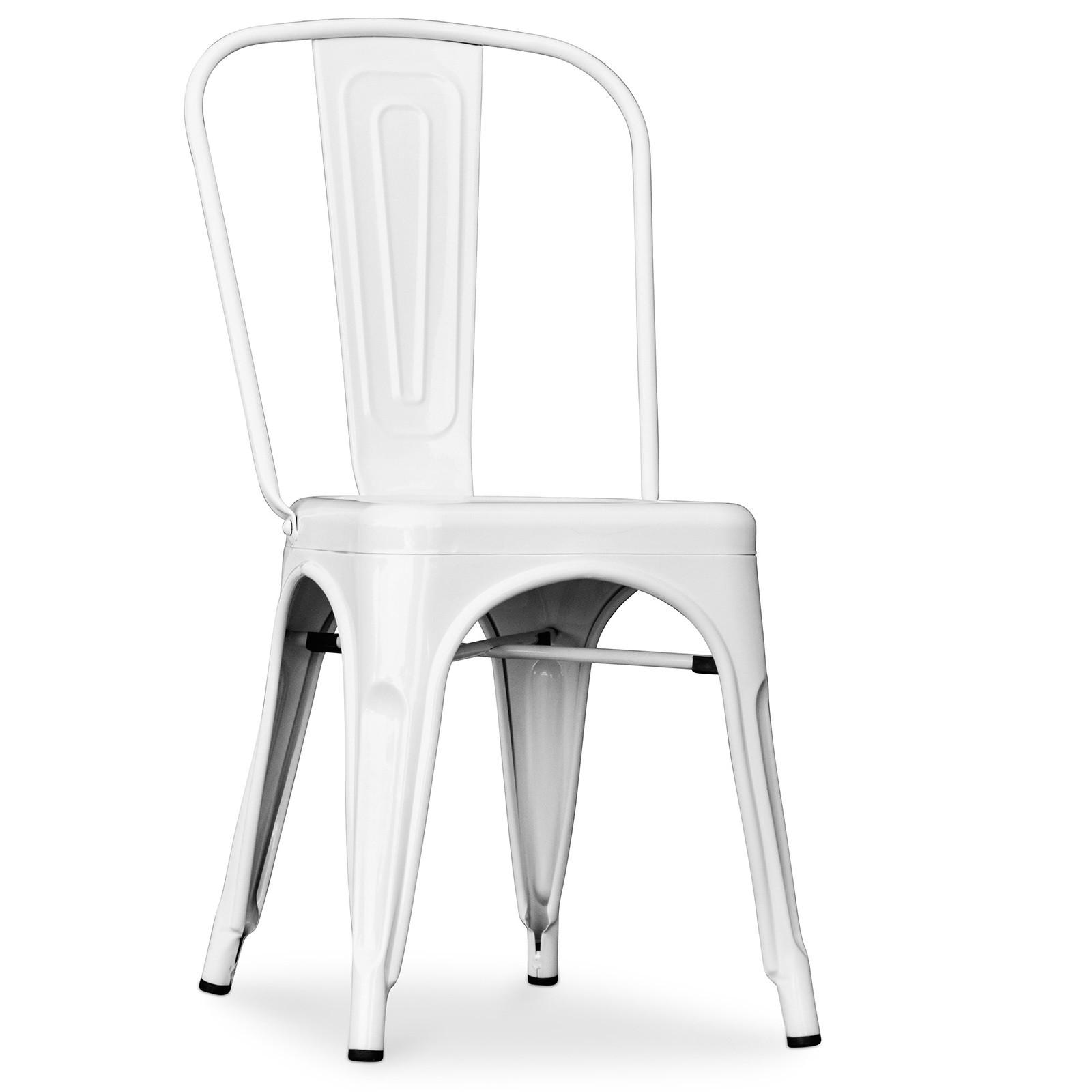 chaise industrielle acier blanc brillant tolix lot de 2. Black Bedroom Furniture Sets. Home Design Ideas