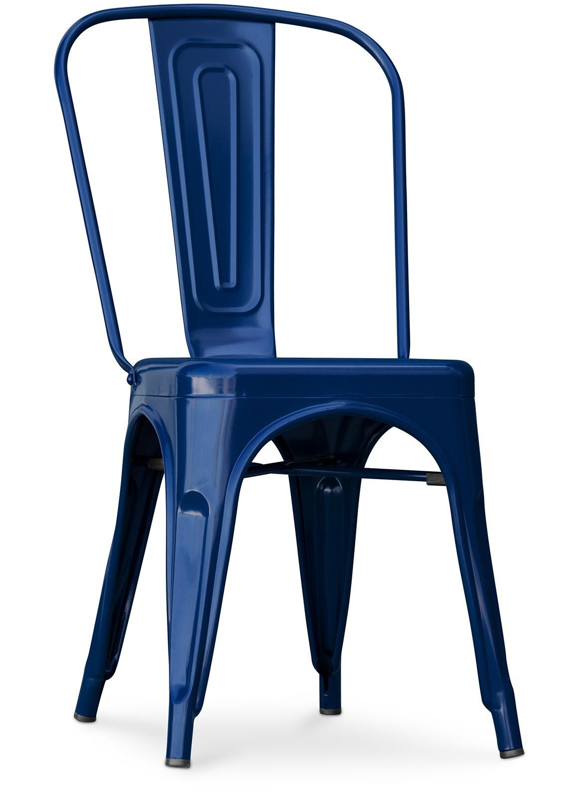 chaise industrielle acier bleu fonc brillant tolix lot. Black Bedroom Furniture Sets. Home Design Ideas