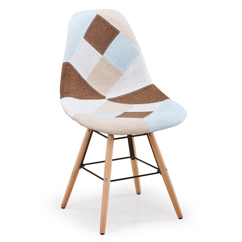 chaise patchwork beige marron bleu lot de 2. Black Bedroom Furniture Sets. Home Design Ideas