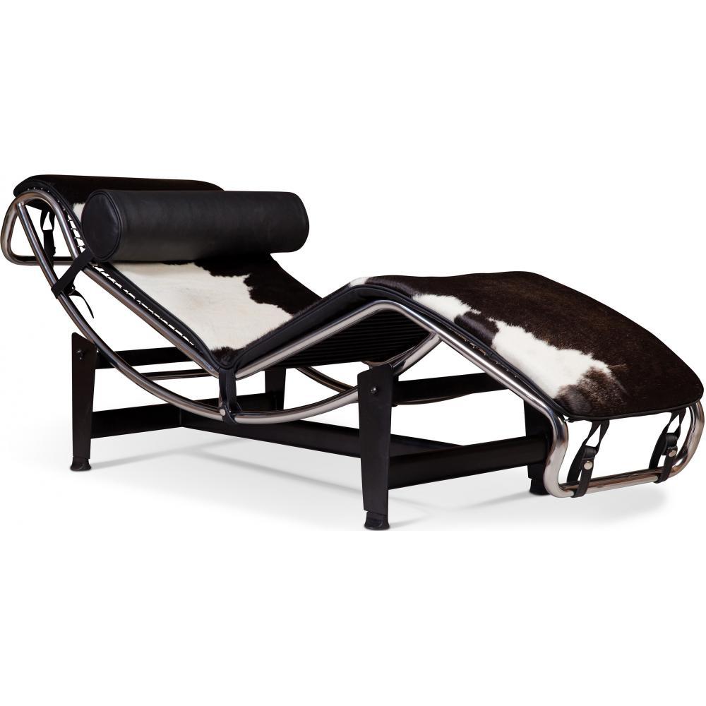 Chaise Longue Pony Noir Et Blanc Inspiree LC4 Le Corbusier