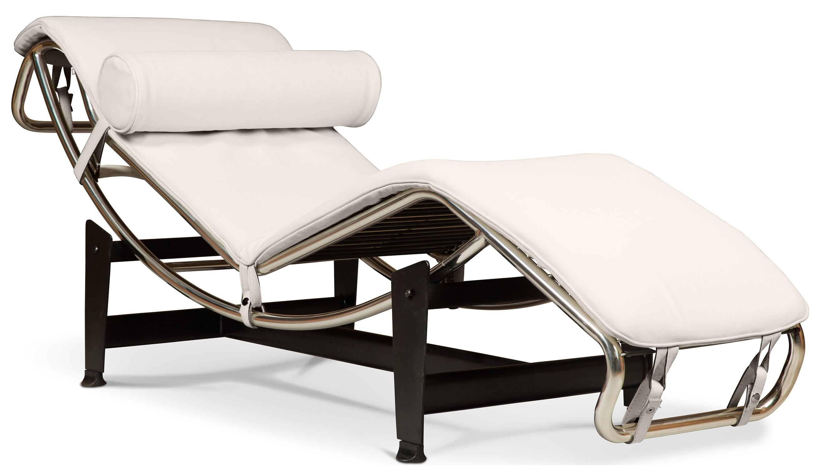 Chaise longue simili cr me clair inspir lc4 de le corbusier - Fauteuil lc4 le corbusier ...
