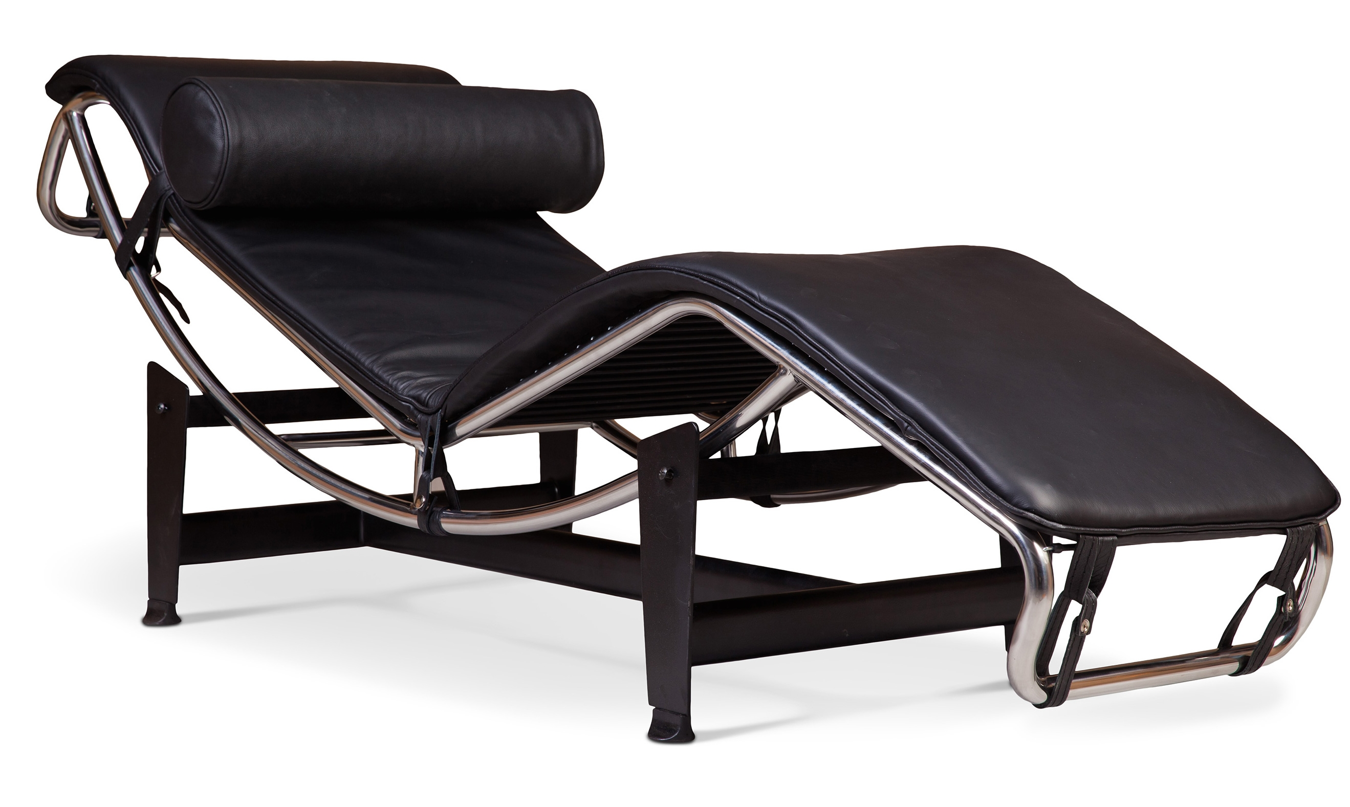 chaise longue simili noir inspir lc4 de le corbusier. Black Bedroom Furniture Sets. Home Design Ideas