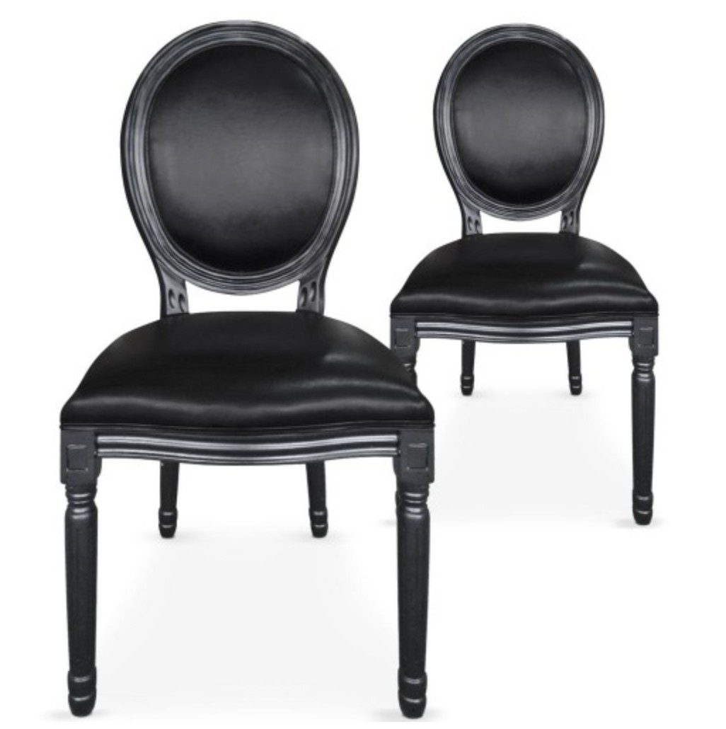chaise m daillon bois noir et simili noir louis xvi lot de 2. Black Bedroom Furniture Sets. Home Design Ideas