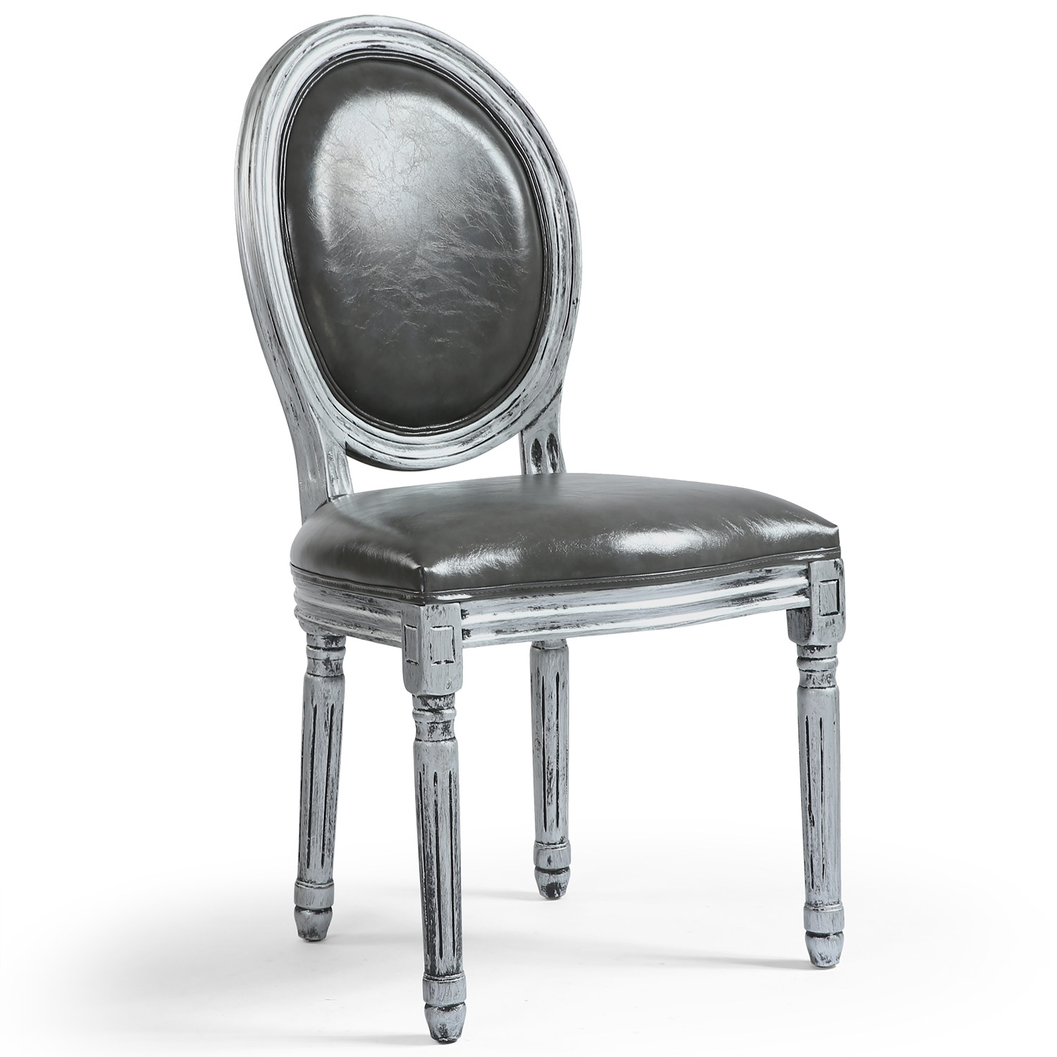 chaise m daillon bois patin argent et simili gris louis xvi lot de 2. Black Bedroom Furniture Sets. Home Design Ideas