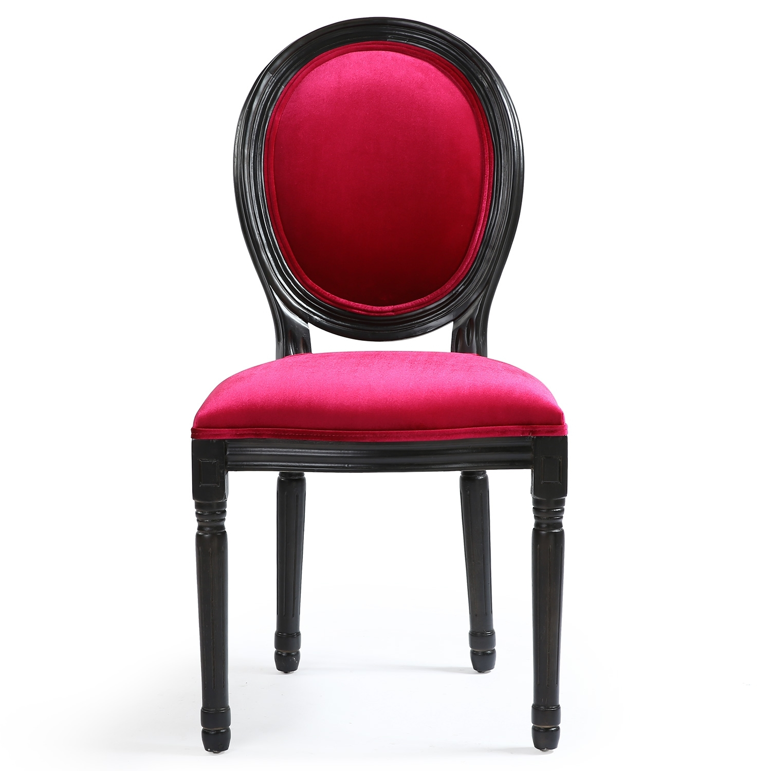 chaise m daillon bois patin noir et velours fuchsia louis xvi lot de 2. Black Bedroom Furniture Sets. Home Design Ideas