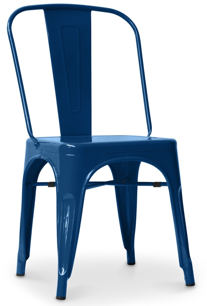 chaise m tal bleu fonc brillant inspir e xavier pauchard. Black Bedroom Furniture Sets. Home Design Ideas