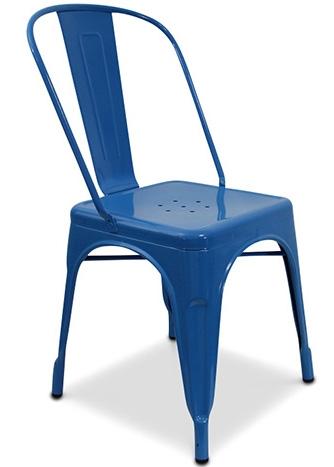 chaise m tal brillant bleu fonc industriel inspir e tolix. Black Bedroom Furniture Sets. Home Design Ideas