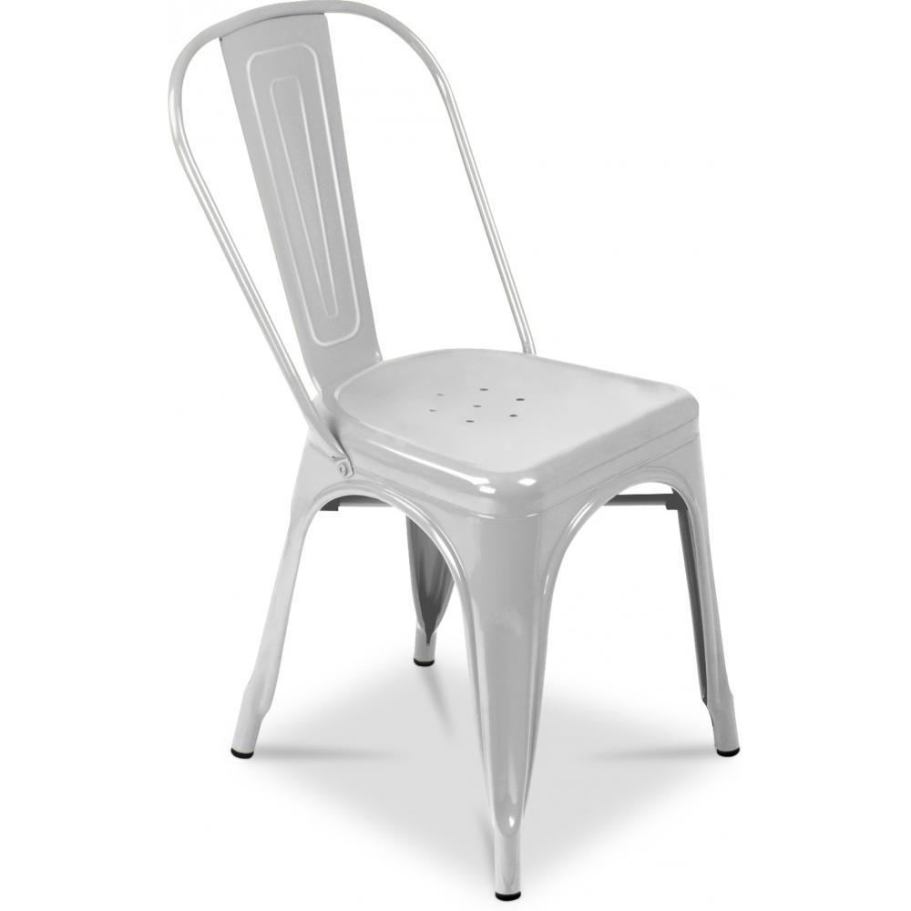 chaise m tal brillant gris clair industriel inspir e tolix. Black Bedroom Furniture Sets. Home Design Ideas