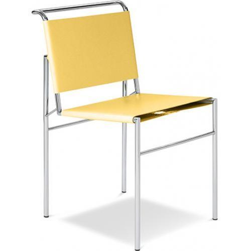 chaise m tal et simili cuir jaune inspir eileen grey. Black Bedroom Furniture Sets. Home Design Ideas