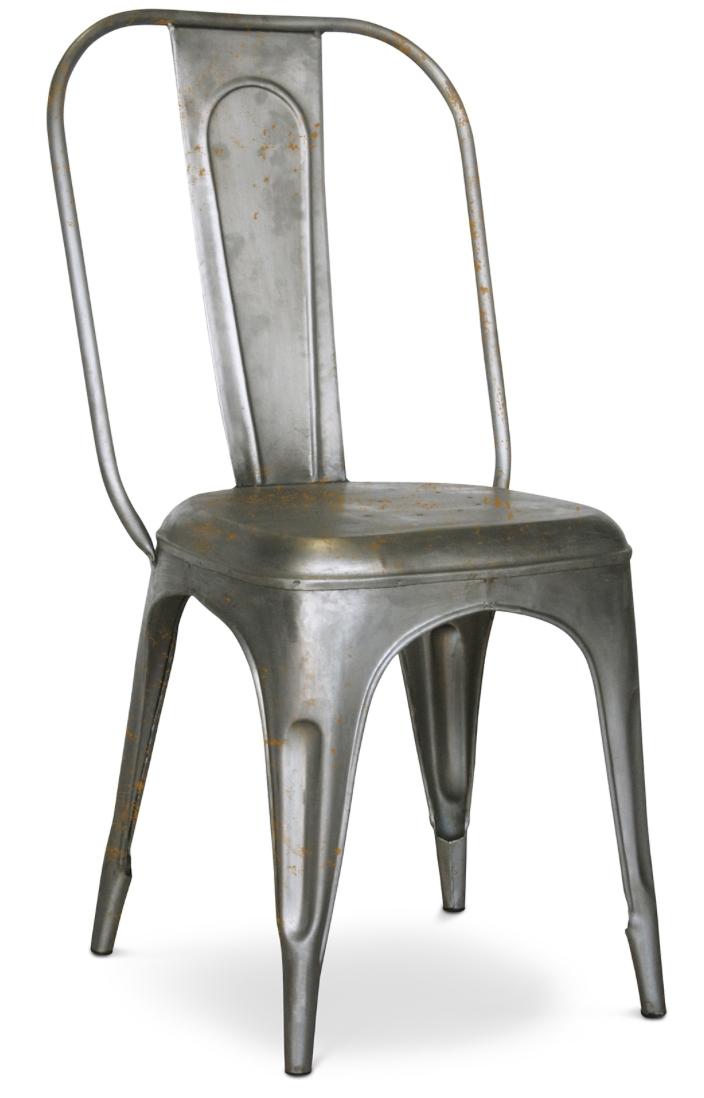 chaise m tal mat argent inspir e tolix. Black Bedroom Furniture Sets. Home Design Ideas
