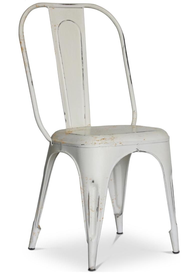 chaise m tal mat blanc inspir e tolix. Black Bedroom Furniture Sets. Home Design Ideas