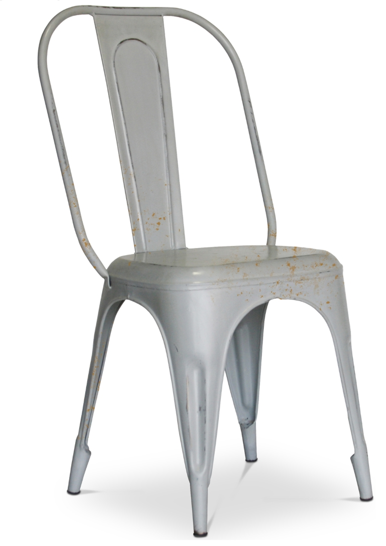 chaise m tal mat gris inspir e tolix. Black Bedroom Furniture Sets. Home Design Ideas