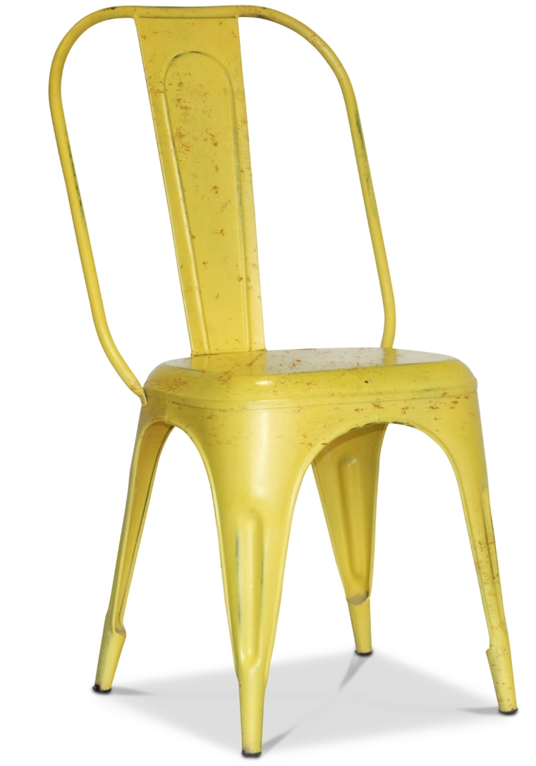 chaise m tal mat jaune inspir e tolix. Black Bedroom Furniture Sets. Home Design Ideas