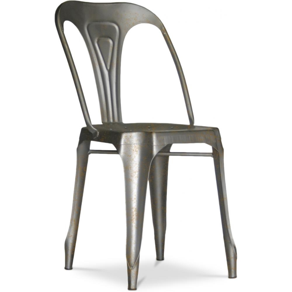 chaise m tal vieilli mat argent inspir e tolix. Black Bedroom Furniture Sets. Home Design Ideas