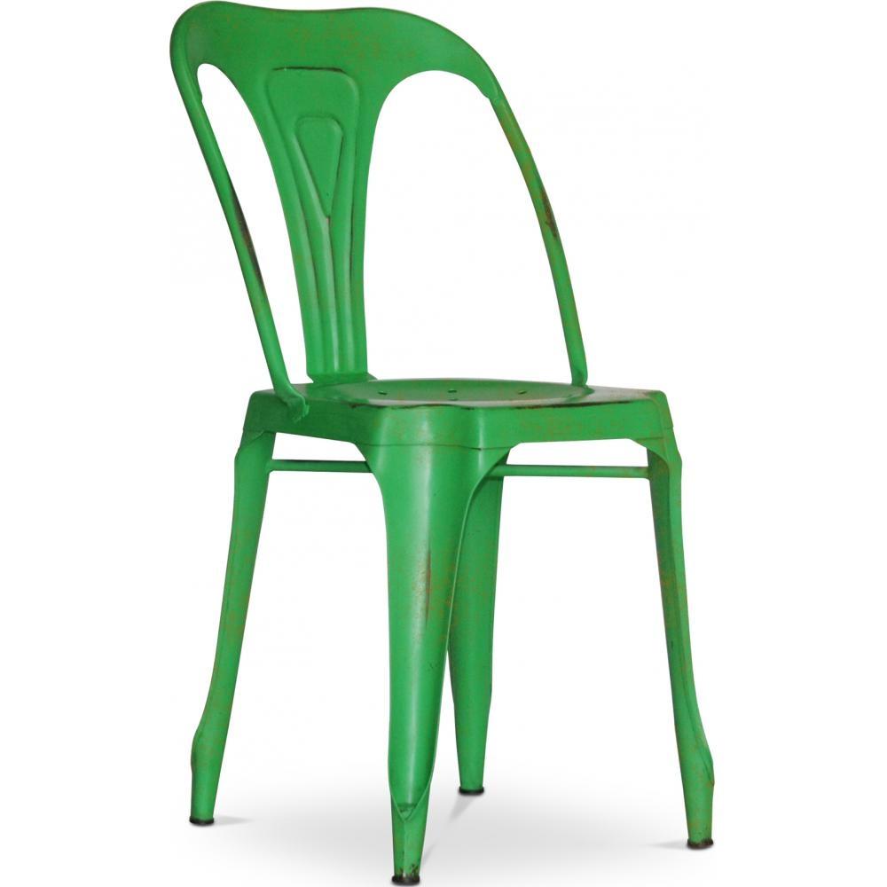 chaise m tal vieilli vert fonc vintage. Black Bedroom Furniture Sets. Home Design Ideas