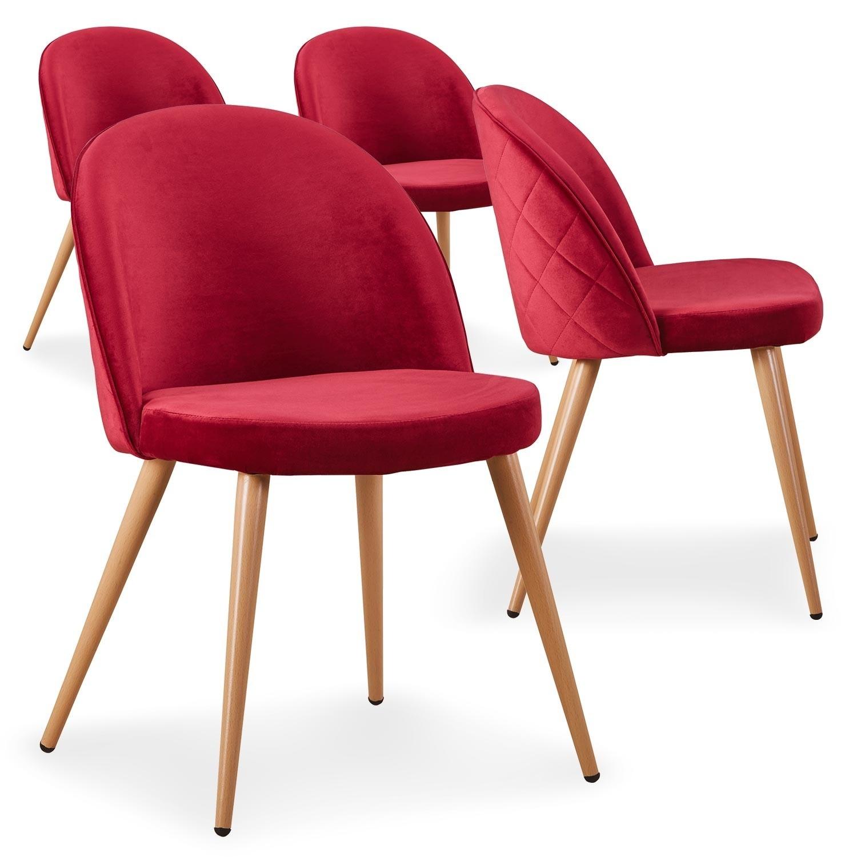 Chaise moderne velours rouge et pieds métal imitation bois