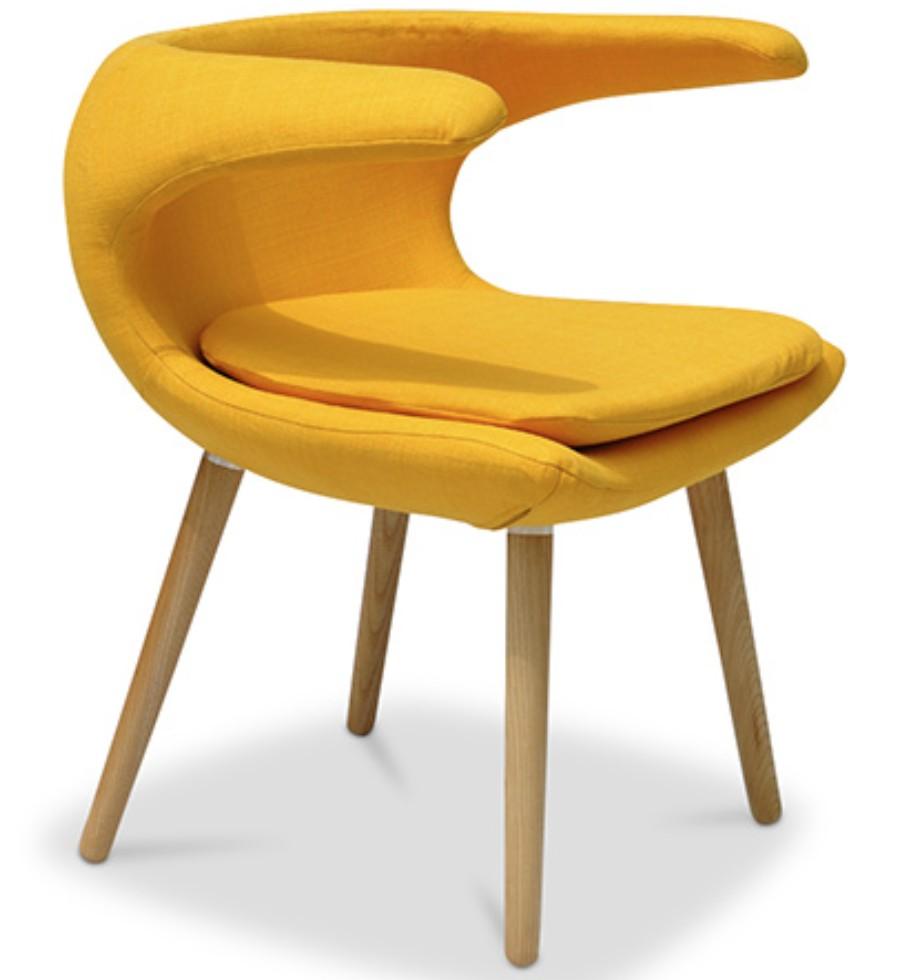 chaise originale naturel et tissu jaune inspir e milvo. Black Bedroom Furniture Sets. Home Design Ideas