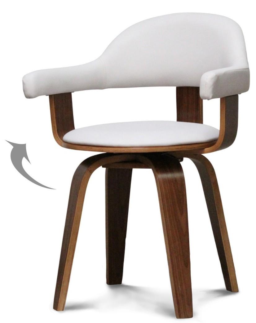 Chaise pivotante simili blanc et bois noyer Woff