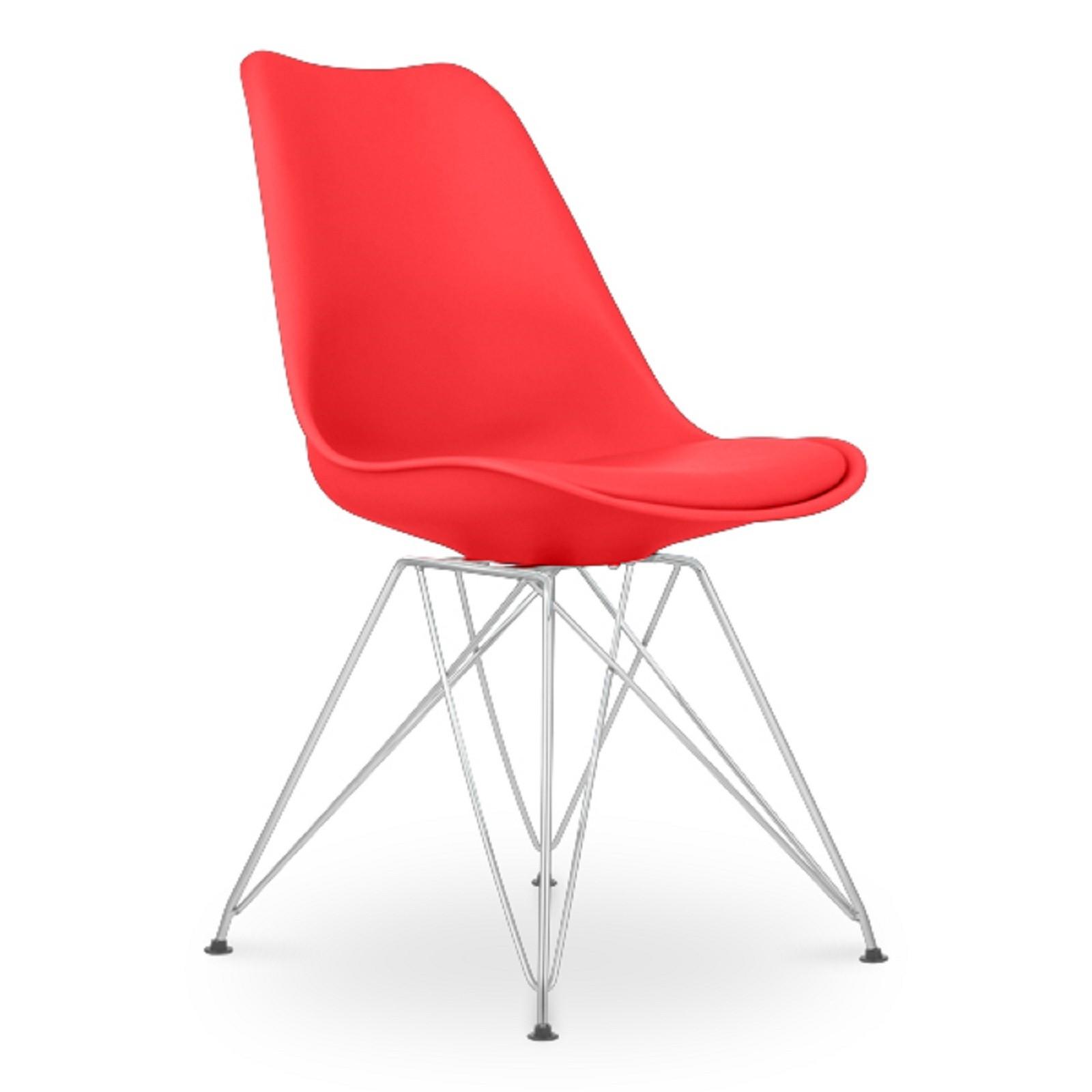 chaise plastique mat avec coussin simili rouge diana lot de 2. Black Bedroom Furniture Sets. Home Design Ideas