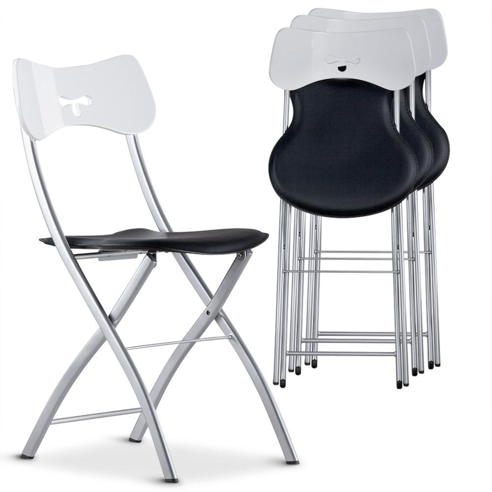Chaise Pliante Noir Et Blanc Tedy