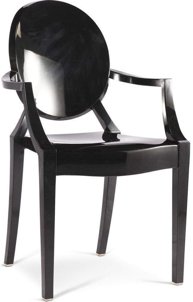 chaise polycarbonate noir inspir louis ghost lot de 4. Black Bedroom Furniture Sets. Home Design Ideas