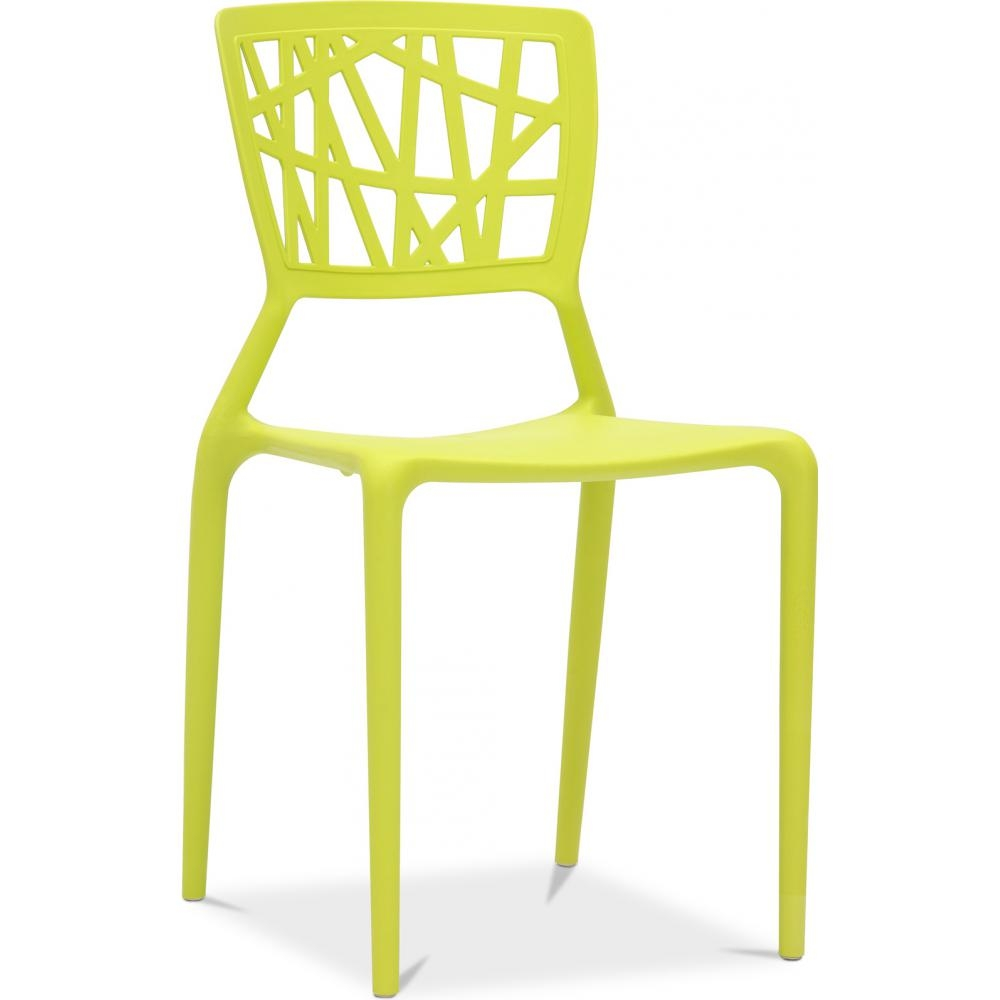 Chaise polypropylene jaune three for Chaise de cuisine jaune