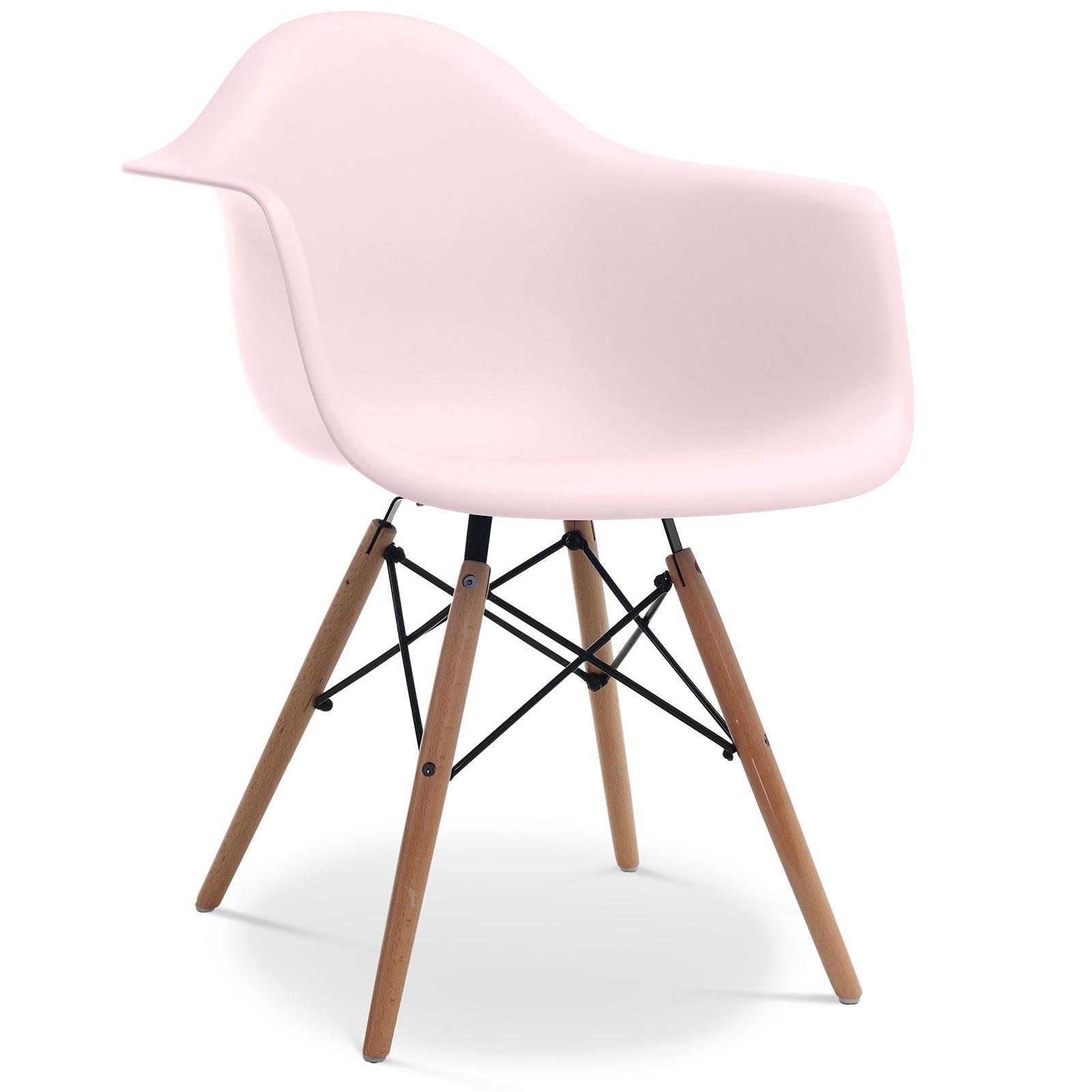 chaise polypropyl ne rose pastel mat et pieds bois clair inspir e daw lot de 2. Black Bedroom Furniture Sets. Home Design Ideas