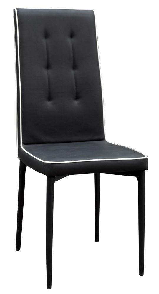 chaise pu noire passepoil blanc folia. Black Bedroom Furniture Sets. Home Design Ideas