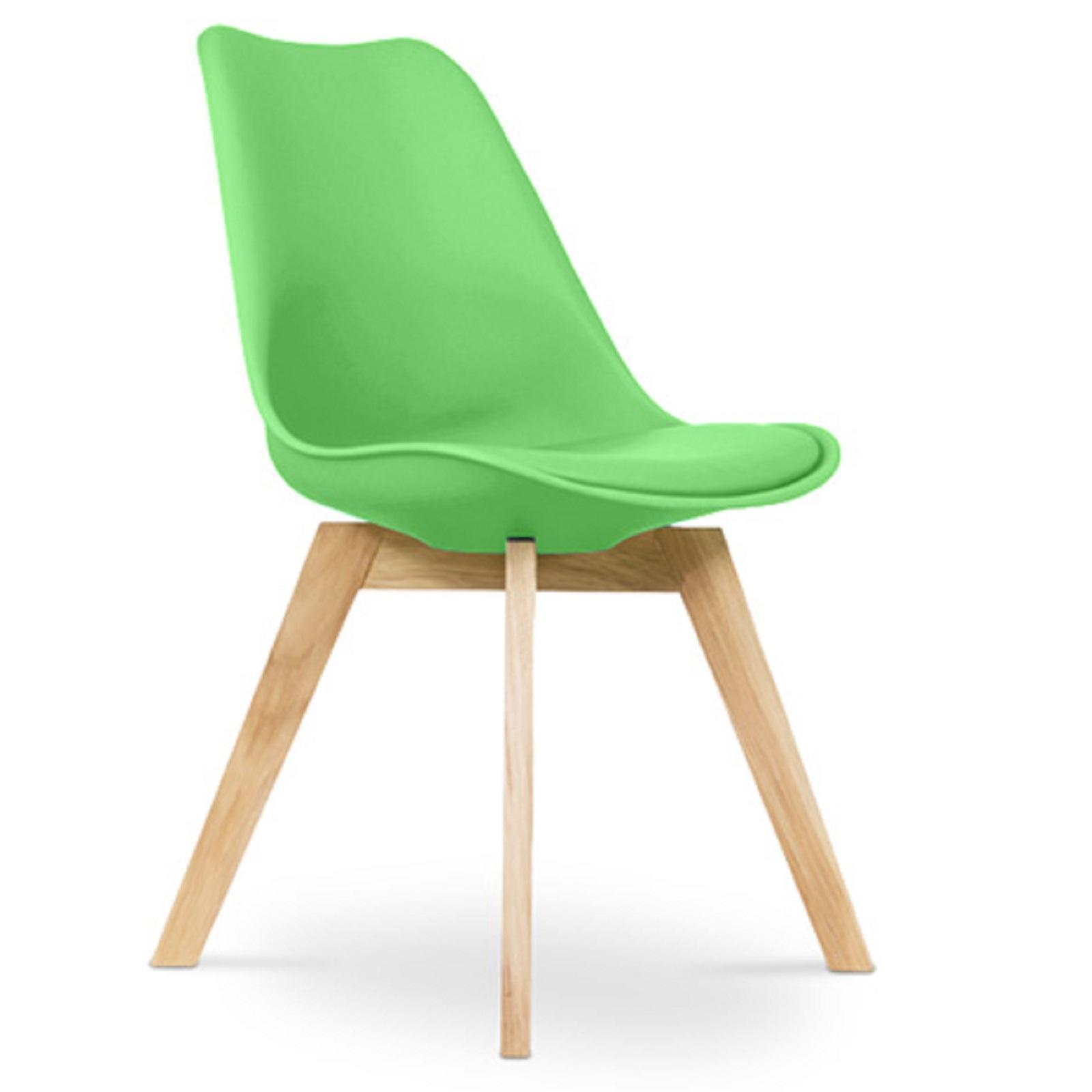 chaise scandinave avec coussin simili vert inspir charles. Black Bedroom Furniture Sets. Home Design Ideas