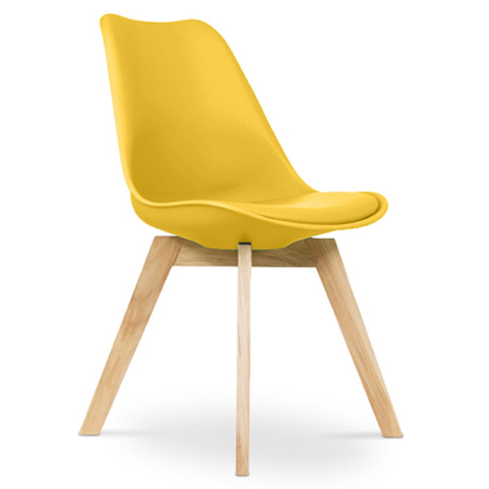 chaise scandinave avec coussin simili jaune inspir charles eames. Black Bedroom Furniture Sets. Home Design Ideas