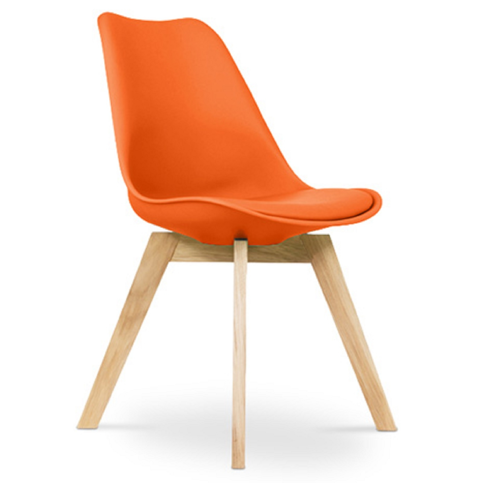 chaise scandinave avec coussin simili orange inspir charles eames. Black Bedroom Furniture Sets. Home Design Ideas