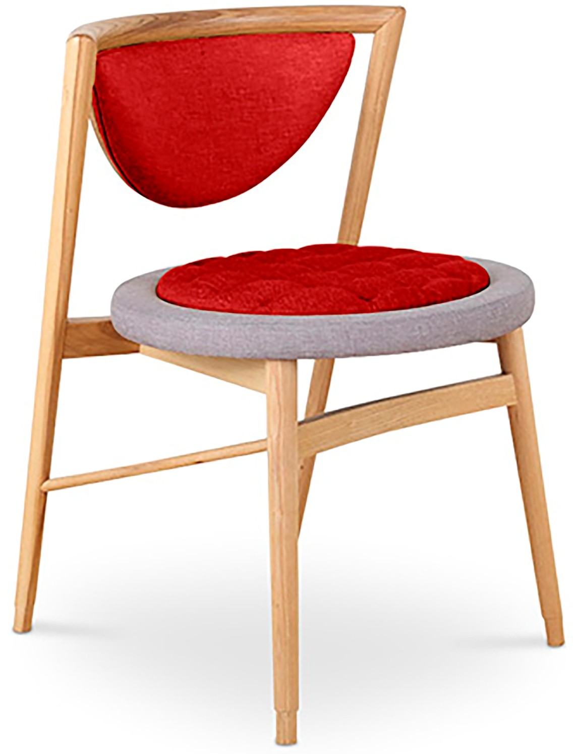 chaise scandinave tissu rouge et pieds bois massif naturel indra. Black Bedroom Furniture Sets. Home Design Ideas