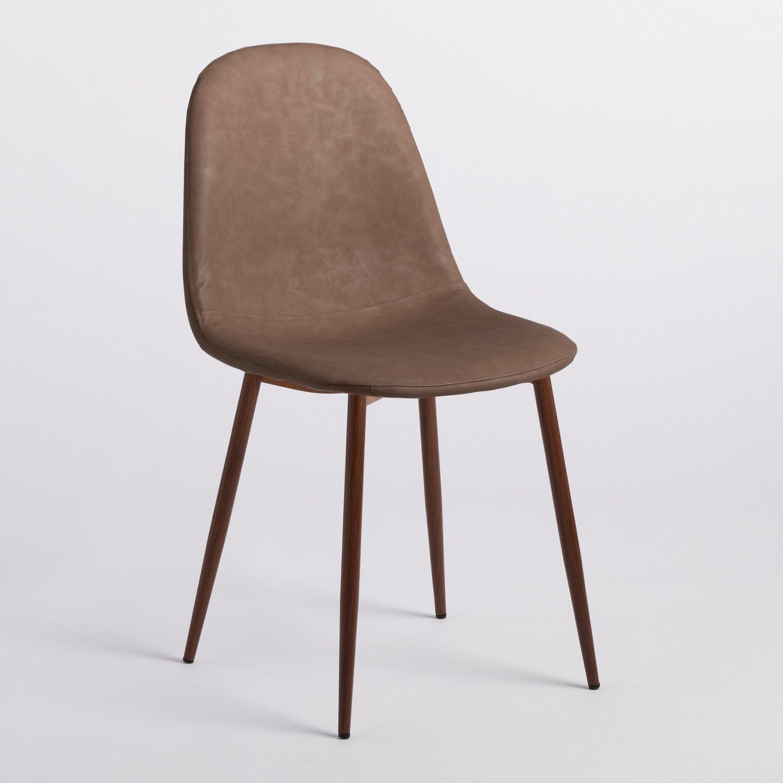 Chaise simili cuir taupe et pieds bois foncé Kinze